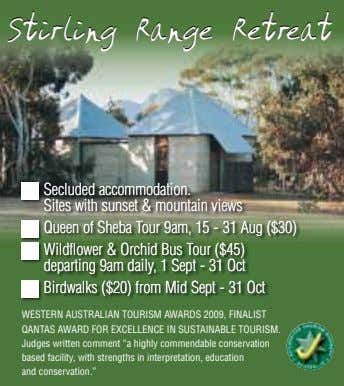 StirlingStirling RangeRange RetrRetreateat Secluded accommodation. Sites with sunset & mountain views Queen of