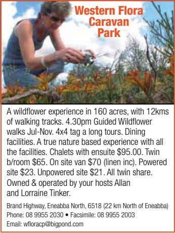 Western Flora Caravan Park A wildflower experience in 160 acres, with 12kms of walking tracks.
