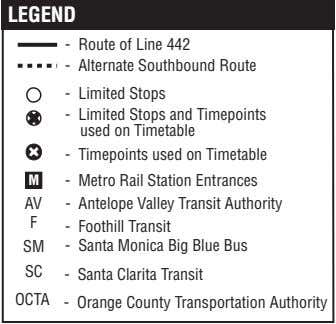 LEGEND - Route of Line 442 - Alternate Southbound Route - Limited Stops - Limited