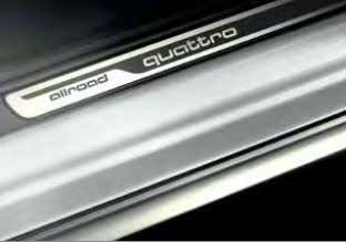 in stainless steel Wheel arch and sill extensions Door sill trims with allroad quattro logo High