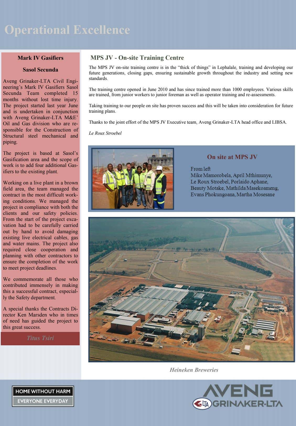 Operational Excellence Mark IV Gasifiers MPS JV - On-site Training Centre Sasol Secunda The MPS