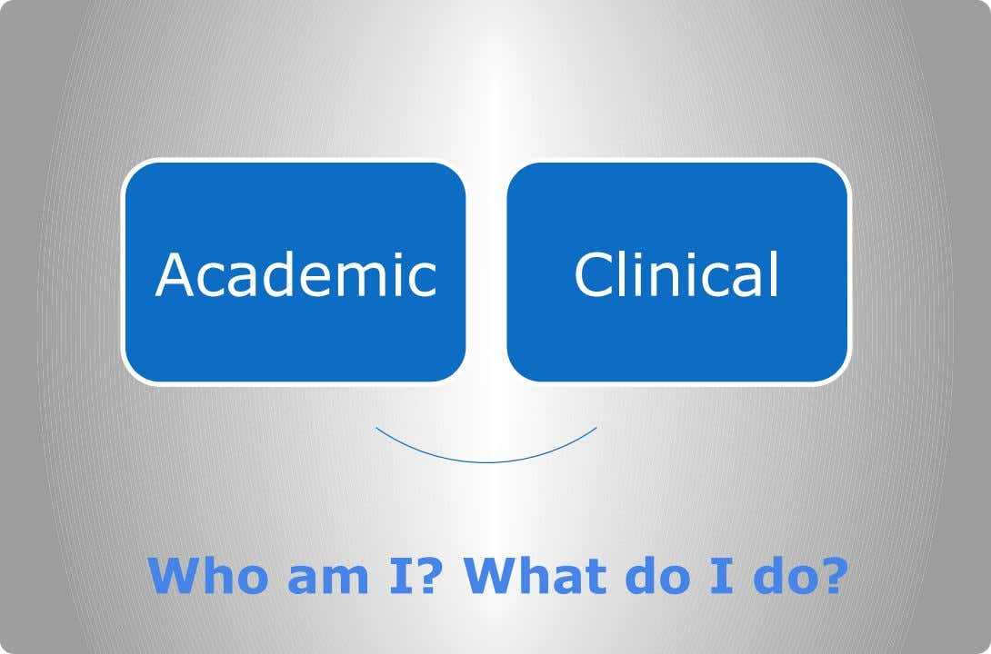 Academic Clinical Who am I? What do I do?