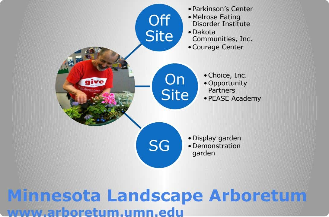 Off Site •Parkinson's Center •Melrose Eating Disorder Institute •Dakota Communities, Inc. •Courage Center On Site •Choice,