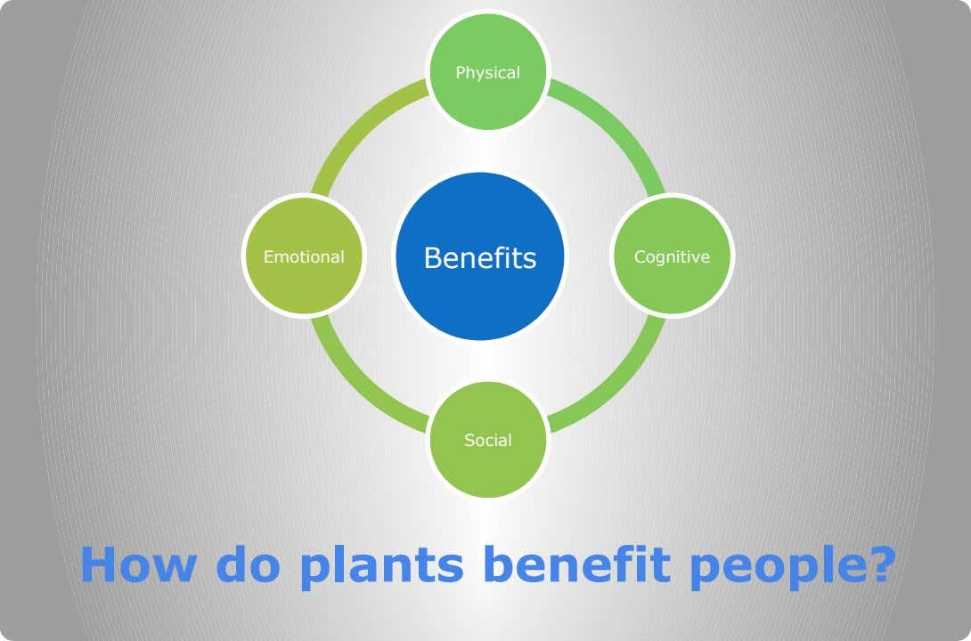 Physical Emotional Benefits Cognitive Social How do plants benefit people?