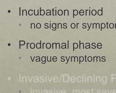 • Incubation period • • Prodromal phase • vague symptoms •
