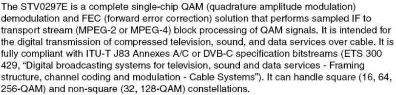 DVB-C Demodulator(STV0297) BLOCK DIAGRAM ON MB36 CHASSIS DESCRIPTION PIN DEFINITION