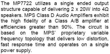 MP7722 AUDIO AMPLIFIER DESCRIPTION FEATURES APPLICATIONS TYPICAL APPLICATION