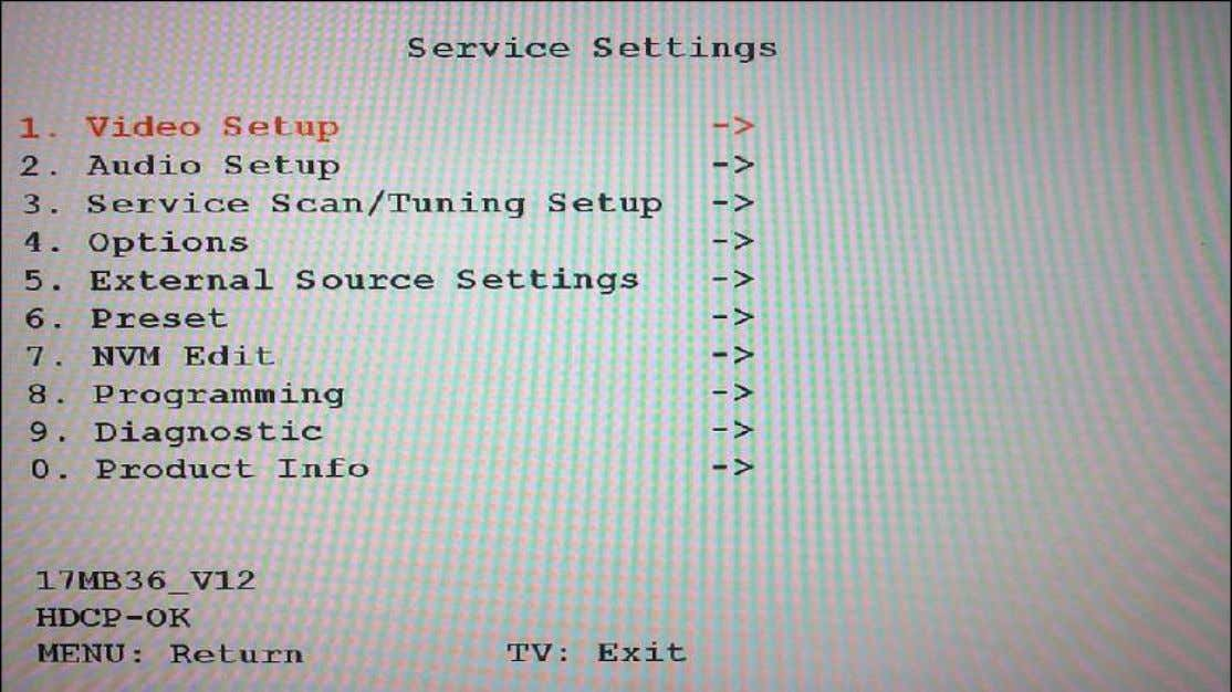 "control code, which is ""4725"". In DTV mode, first press ""MENU"" and select ""TV SETUP"". Then,"