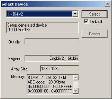menu or the toolbar icon to invoke the Select Device dialog. Figure 3.2. The Select Device