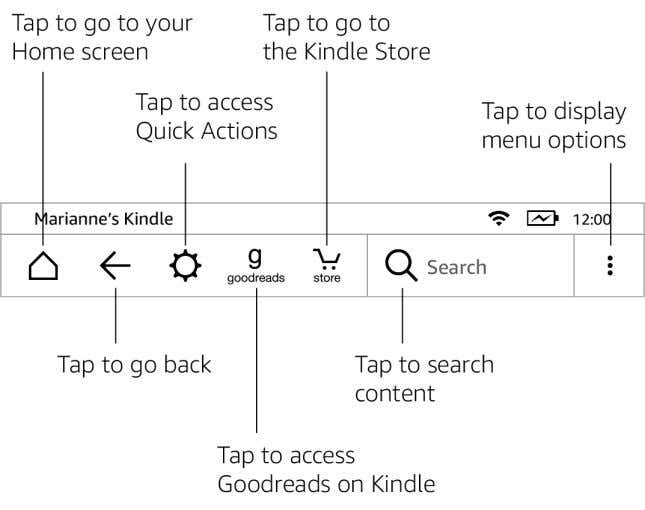 Guide , 2nd Edition Chapter 2 Navigating Your Kindle 13 Home : Tap to return to