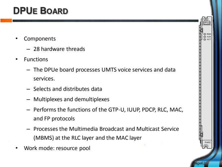 DPUE BOARD • Components – 28 hardware threads • Functions – The DPUe board processes