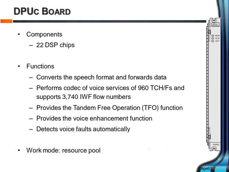 DPUC BOARD • Components – 22 DSP chips • Functions – Converts the speech format