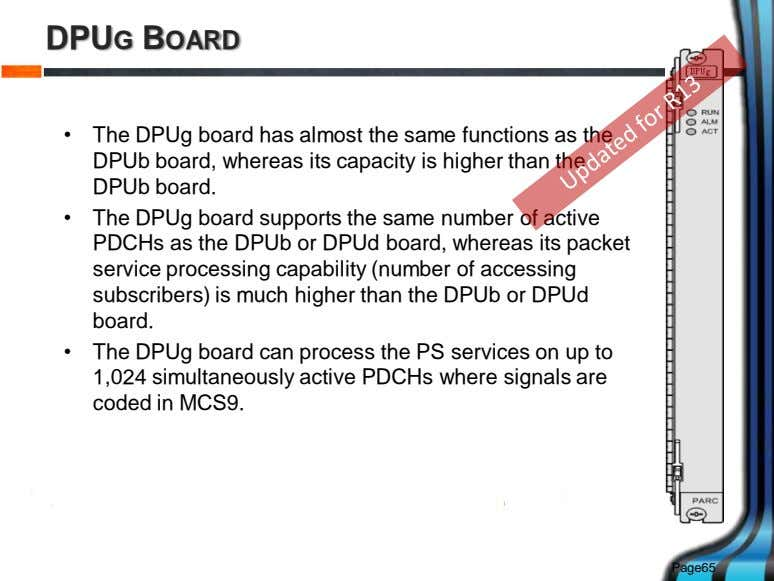 DPUG BOARD • The DPUg board has almost the same functions as the DPUb board,