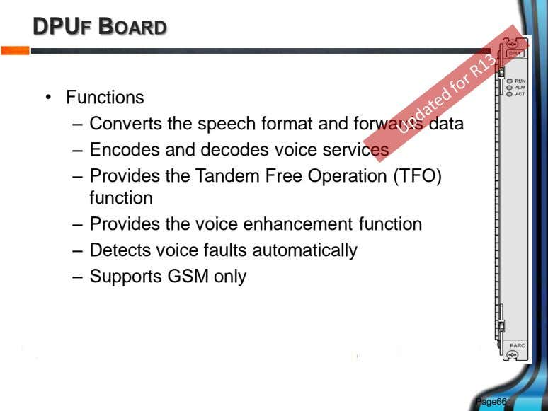 DPUF BOARD • Functions – Converts the speech format and forwards data – Encodes and