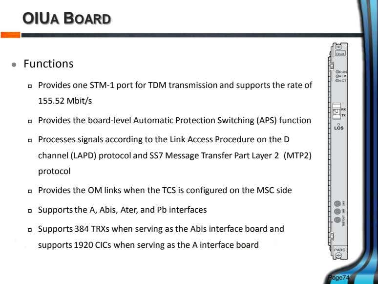 OIUA BOARD  Functions  Provides one STM-1 port for TDM transmission and supports the