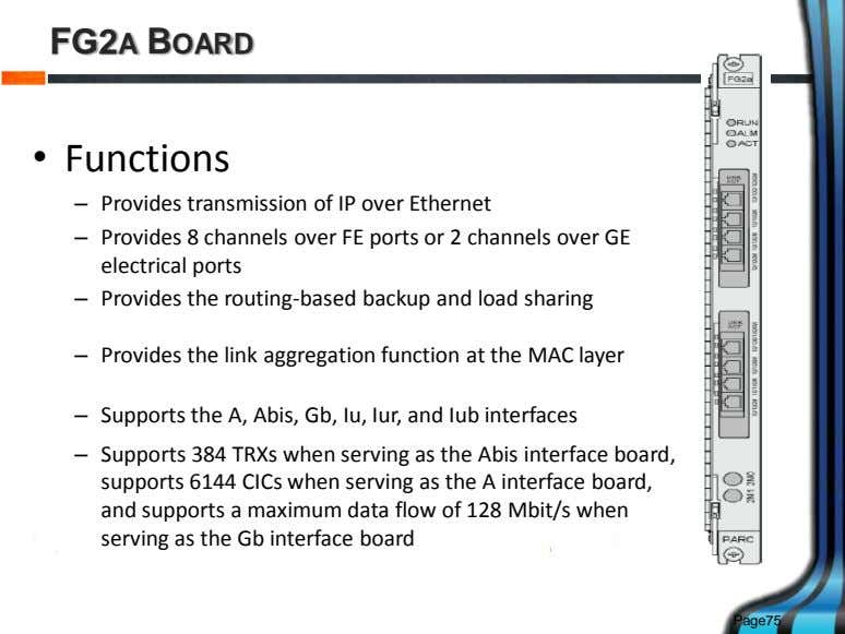 FG2A BOARD • Functions – Provides transmission of IP over Ethernet – Provides 8 channels