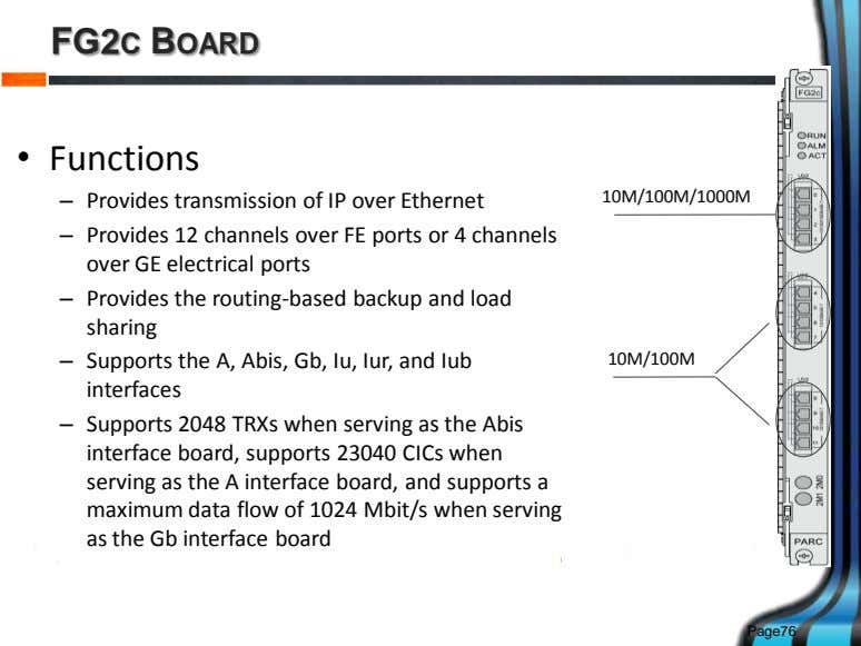 FG2C BOARD • Functions – Provides transmission of IP over Ethernet 10M/100M/1000M – Provides 12