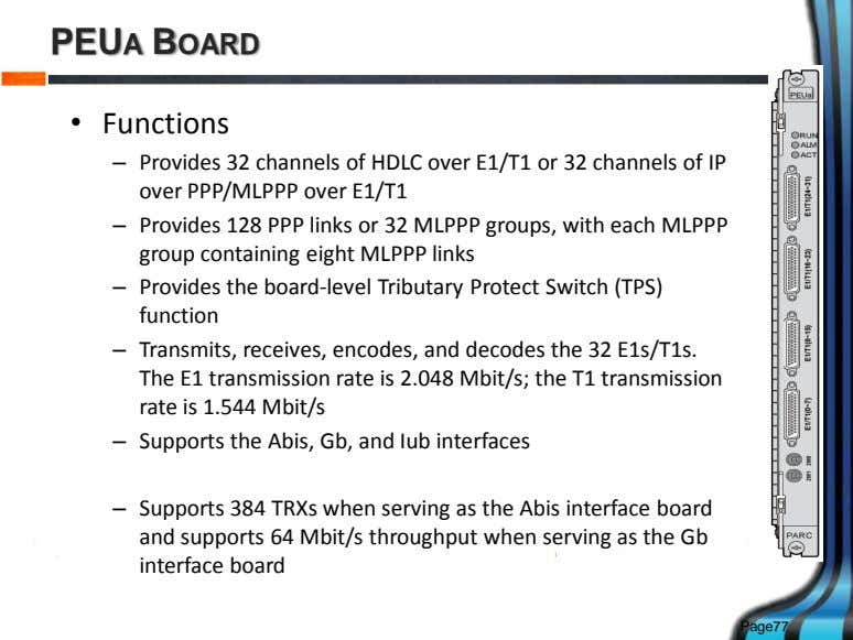 PEUA BOARD • Functions – Provides 32 channels of HDLC over E1/T1 or 32 channels
