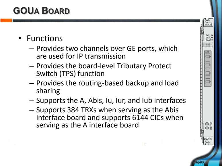 GOUA BOARD • Functions – Provides two channels over GE ports, which are used for