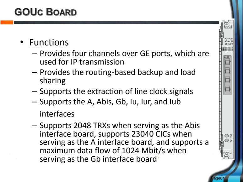 GOUC BOARD • Functions – Provides four channels over GE ports, which are used for