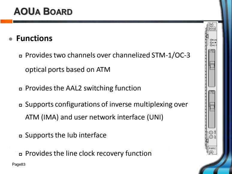 AOUA BOARD  Functions  Provides two channels over channelized STM-1/OC-3 optical ports based on