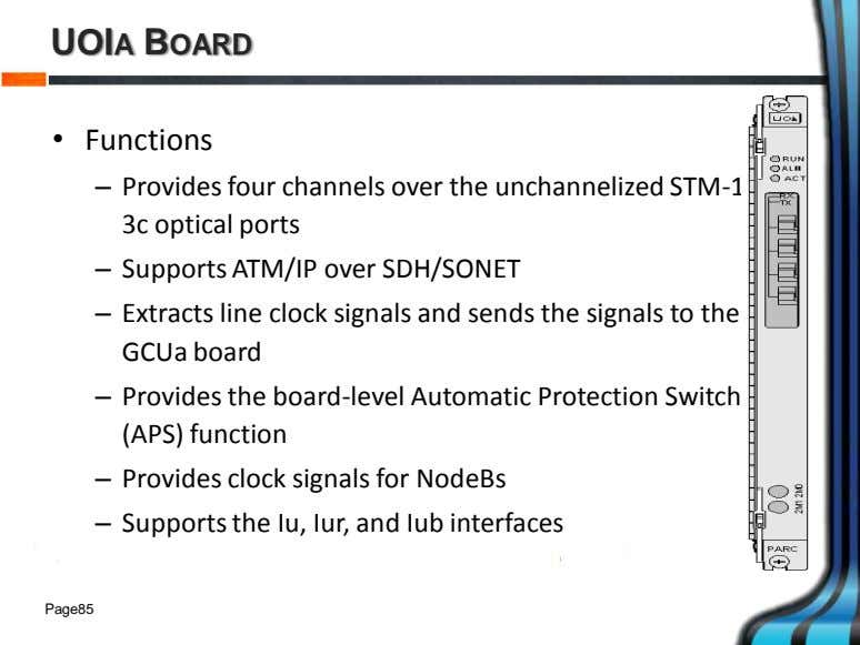UOIA BOARD • Functions – Provides four channels over the unchannelized STM-1/OC- 3c optical ports