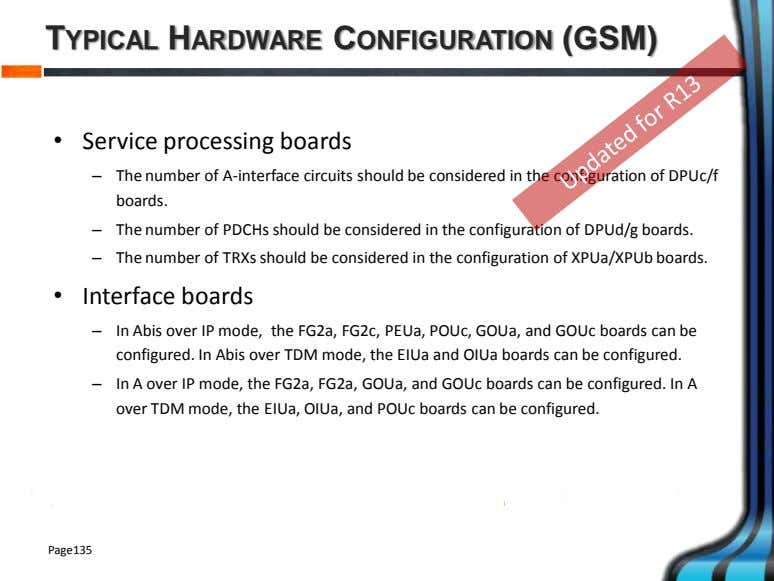 TYPICAL HARDWARE CONFIGURATION (GSM) • Service processing boards – The number of A-interface circuits should