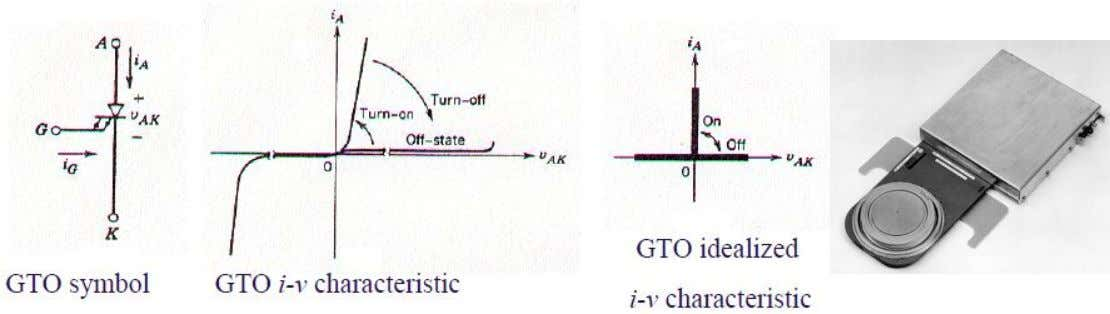 Controllable Switch : Gate-Turn-Off Thyristor (GTO) ♦ When forward biased, GTO can be turned on by
