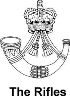 T he Rifles Cap Badge Silver Bugle horn with tassels above surmounted by the Sovereign's