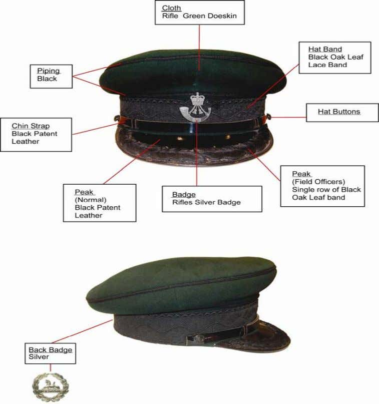 No1 Dress Forage Cap (Also worn by WO1's/RSMs) Black Oak Leaf Band: 38mm wide MOD Pattern