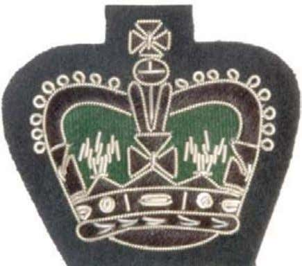 Cloth: Silver gilt wire on black with rifle green background Warrant Officer Class 2 Crown Large