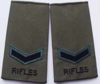 black upper case lettering. Not worn on Epaulettes by ORs. Rifles Rank Slide Lance Corporal Rifles