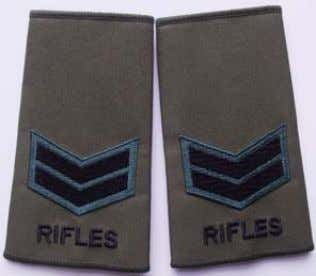 worn on Epaulettes by ORs. Rifles Rank Slide Lance Corporal Rifles Rank Slide Corporal Rifles Rank