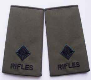 to be worn on the Ivory Shade/Fawn officer pattern shirts. Rifles Rank Slide 2nd Lieutenant Rifles