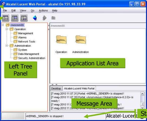 Application List Area Left Tree Panel Message Area