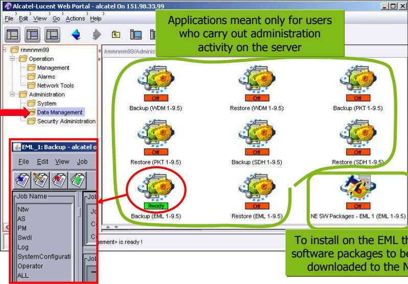 Applications meant only for users who carry out administration activity on the server