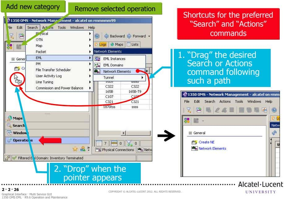 "Add new category Remove selected operation Shortcuts for the preferred ""Search"" and ""Actions"" commands 1."