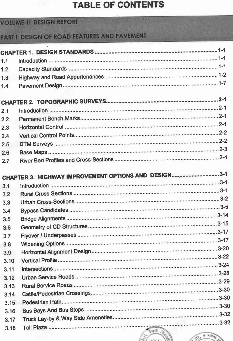 TABLE OF CONTENTS OF ROAD FEP AND PAVEMENT . CHAPTER I. DESIGN STANDARDS 1-1 1.1
