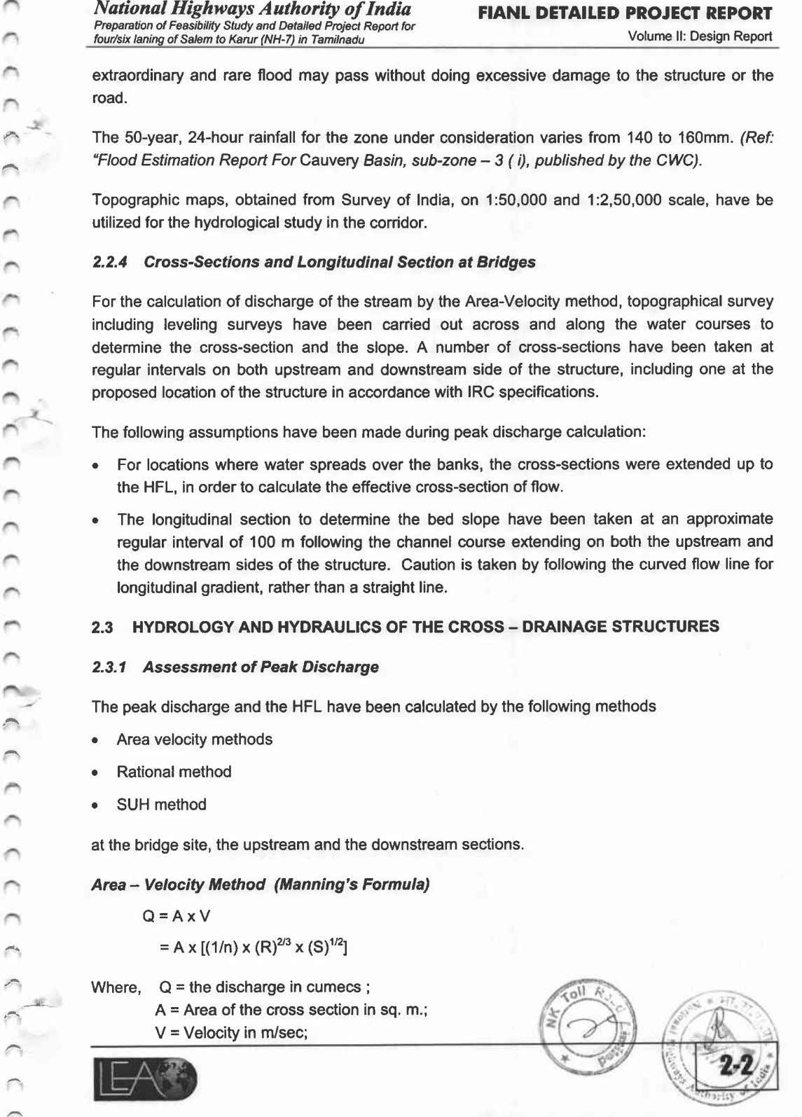 National Highways Authority of India FlANL DETAILED PROJECT REPORT Preparation of Feasibilrty Study and Detailed