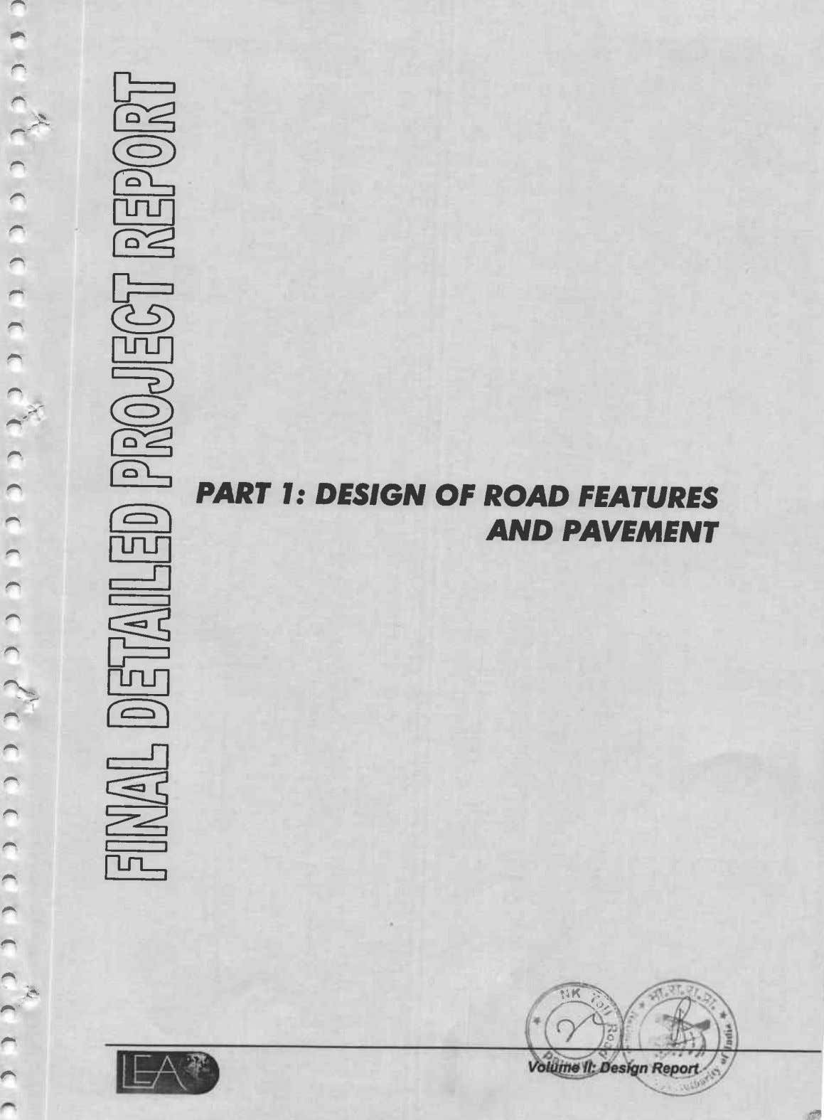 % @ To'rl CO'L, - PART I: DESlGAl OF ROAD FEATURES AND PAVEMENT