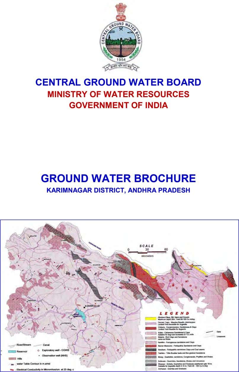 CENTRAL GROUND WATER BOARD MINISTRY OF WATER RESOURCES GOVERNMENT OF INDIA GROUND WATER BROCHURE KARIMNAGAR