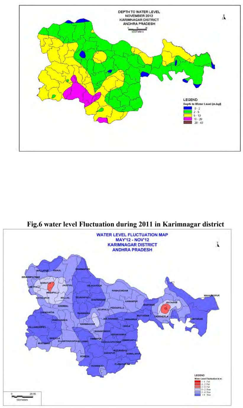 Fig.6 water level Fluctuation during 2011 in Karimnagar district