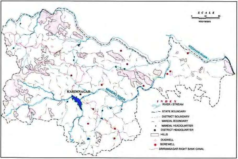 Fig. 1: Administrative Divisions of Karimnagar District, A.P The total cropped area of 533604 ha an