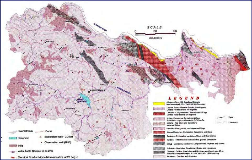 are shown on Fig 4. FIG.4 Hydrogeology - Karimnagar district 3.2 Archaean and Dharwar Group of