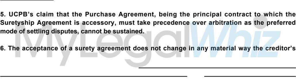 5. UCPB s claim that the Purchase Agreement, being the principal contract to which the