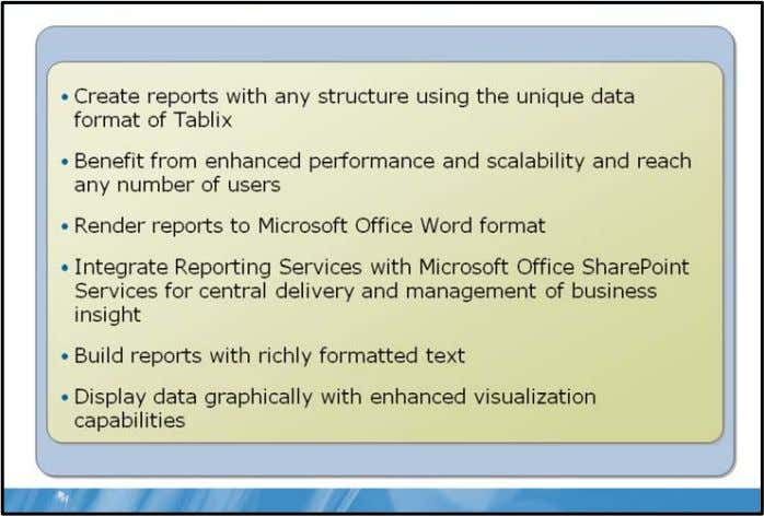 SQL Server® 2008 Reporting Services Top New Features Key Points SQL Server 2008 Reporting Services introduce