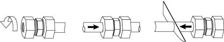 SECTION 5, continued 1. Connect ¼-in. O.D. tubing (of appropriate lengths for sample-in and sample- out