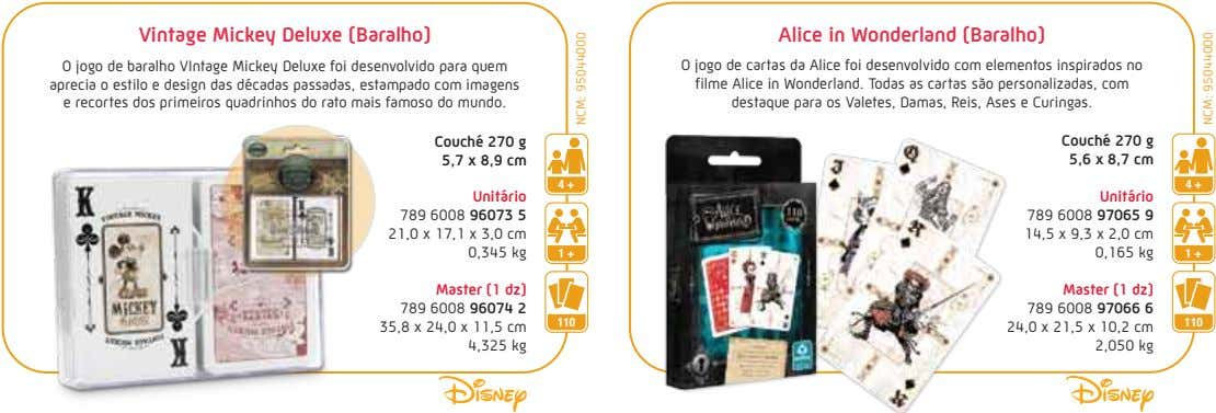 Vintage Mickey Deluxe (Baralho) Alice in Wonderland (Baralho) O jogo de baralho VIntage Mickey Deluxe