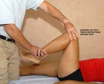 about a home stretching program for rehabili- tation. Photo #3—Supine Knee Flexion This approach affords more