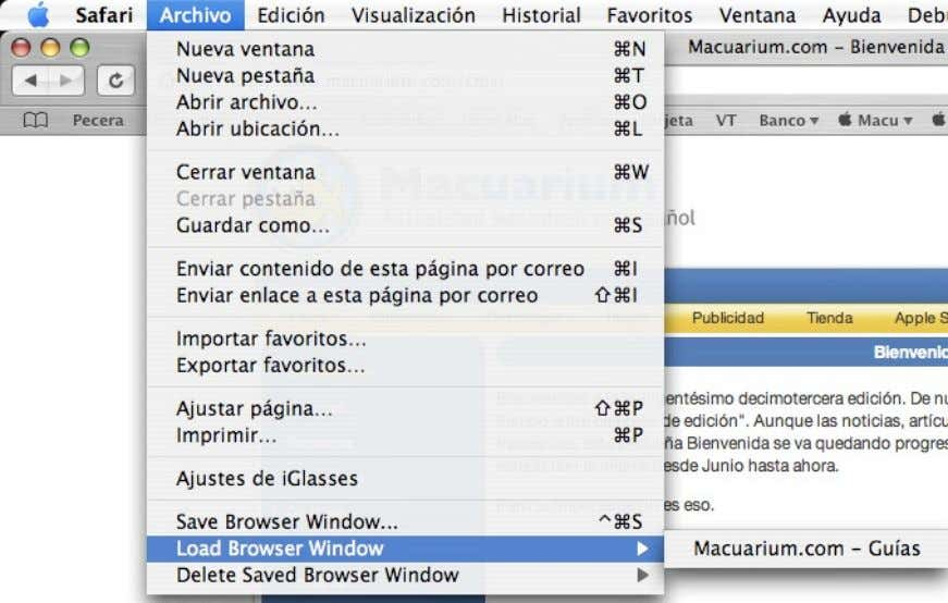 menús, nos encontramos en el Menú Archivo encontramos: • Save browser windows modo de tener favoritos)